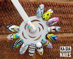 Natural Nail Designs, Colorful Nail Designs, Gel Nail Designs, Painted Nail Art, Acrylic Nail Art, Gel Nail Art, Tribal Nails, Swag Nails, 3d Nails