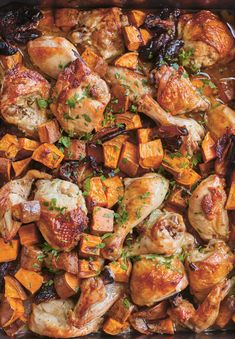 Chicken with Sweet Potatoes and Dates: A simple one-pan Shabbat dinner that serve. Celebration Chicken with Sweet Potatoes and Dates: A simple one-pan Shabbat dinner that serves a small crowd Shabbat Dinner, Easy Weeknight Dinners, Fast Dinners, Chicken Recipes, Chicken And Dates Recipe, Roast Chicken Pieces Recipe, Chicken Meals, Turkey Recipes, Crockpot