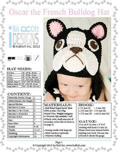 gorro crochet bulldog frances