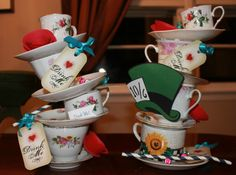 Stackable Teacups & Teapot Centerpiece 4 by ThePurplePeacockShop, $49.00