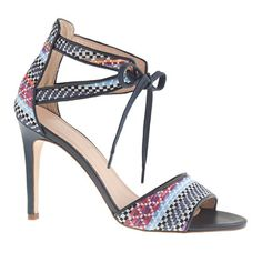 """J. Crew Collection woven raffia tie-front high-heel sandals in Bungalow Blue $350  Made from woven raffia and finished with a delicate tie at the front, these might just be the perfect summer sandals. 4"""" heel."""
