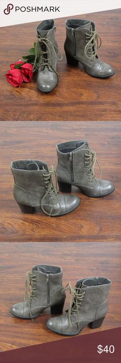 Call It Spring Gray Lace Up Ankle Boots Like New 8 These stylish heels are in excellent condition. As always offers and bundles are welcome. Feel free to add one or more items to a bundle for a private discount offer!!!  The approx. heel height is 2.75 inches. Call It Spring Shoes Heeled Boots