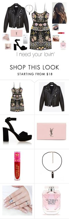 """I need your lovin'"" by brenda-all-over ❤ liked on Polyvore featuring Needle & Thread, Yves Saint Laurent, Miu Miu, Jeffree Star and Victoria's Secret"