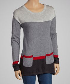 Take a look at this Black & Red Color Block Sweater by August Silk on #zulily today!