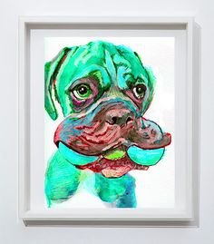 Boxer Dog painting abstract wall art watercolor by OjsDogPaintings #boxerdog #puppy #boxerpuppy #boxerdogtoy #aquamarine #art #cute