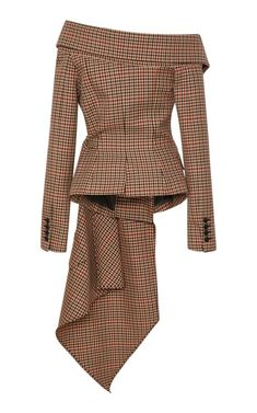 Get inspired and discover Monse trunkshow! Shop the latest Monse collection at Moda Operandi. Blazer Outfits, Plaid Blazer, Blazer Fashion, Blazer Dress, Hijab Fashion, Chic Outfits, Fashion Dresses, Blazer Jacket, Off Shoulder Jacket