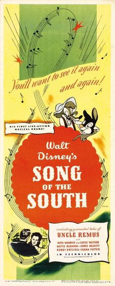 Song of the South (RKO, Insert X Animation. Starring James Baskett, Bobby Driscoll, - Available at Sunday Internet Movie Poster. Disney Movie Posters, Classic Movie Posters, Cinema Posters, Film Posters, Disney Cartoons, Disney Songs, Disney Films, Disney Quotes, Walt Disney