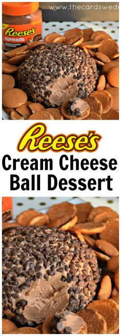 This Reese's Peanut Butter Cream Cheese Ball makes an awesome party dessert or appetizer! And it's super easy to make! Dessert Cheese Ball, Cream Cheese Desserts, Cheese Appetizers, Appetizer Recipes, Cream Cheeses, Party Appetizers, Dessert Party, Dessert Dips, Dessert Recipes