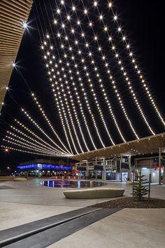 Catenary Lighting Australia examples include Henley Square at Henley Beach, Adelaide. Tensile undertook the design, development and engineering. Lighting System, Lighting Solutions, Exterior Lighting, Outdoor Lighting, Landscape Lighting Design, Led Street Lights, Light Design, Urban Design, Pathways