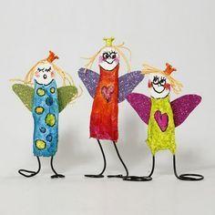 Färgglada änglar av gipsgaze och bonzaitråd - Julpyssla med barn - Julinspiration - Jul - Högtider