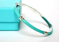Tiffany Co Silver Turquoise Blue Enamel Signature X Bangle Bracelet