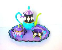 Items similar to Painted Tea Set Alice in Wonderland Mad Hatter Tea Party Vintage Tea Service Layaway Plan Teapot Painted Tea Pot Set Custom Tea Set Tray on Etsy Mad Hatter Party, Mad Hatter Tea, Mad Hatters, Pottery Painting, Ceramic Painting, Ideas Prácticas, Party Ideas, Silver Tea Set, Teapots Unique