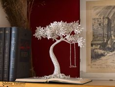 Book Arts Paper Tree with Swing Book Sculpture Altered image 0 Folded Book Art, Book Folding, Book Crafts, Paper Crafts, Butterfly Books, Paper Leaves, Paper Trees, Book Sculpture, Art Plastique