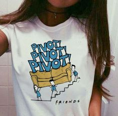 Unisex Friends Tv Show Pivot Funny Quotes T-Shirt Hipsters Cute Printed Tee White - Quotes T Shirt - Ideas of Quotes T Shirt - Unisex Friends Tv Show Pivot Funny Quotes T-Shirt Hipsters Cute Printed Tee White Tv: Friends, Pivot Friends, Friends Moments, Friends Tv Show, Friends Shirts, Summer Outfits, Cute Outfits, Mode Shoes, Friend Outfits