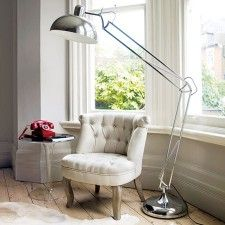 Chrome atlas giant floor lamp £175 pre-order in Chrome. Available in stock and cheaper in white (plus discount). maximum 75 watts.
