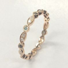 $279 Green Alexandrite Diamond Wedding BandFor Women! Eternity Anniversary Ring,14K Rose Gold - Lord of Gem Rings - 1