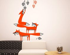 """Foxes Picking Grapes"" wall decal by GreenWallHorses on Etsy."