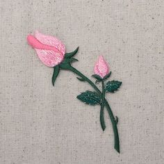 Brazilian Embroidery Tutorial Iron On Embroidered Applique Patch Pink Roses on Stem Closed Buds - Brazilian Embroidery Stitches, Types Of Embroidery, Hand Embroidery Stitches, Embroidery Patches, Hardanger Embroidery, Embroidery Techniques, Embroidered Patch, Hand Embroidery Flowers, Flower Embroidery Designs