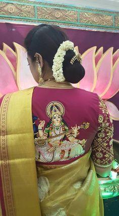 Saraswati embroidery blouse back design