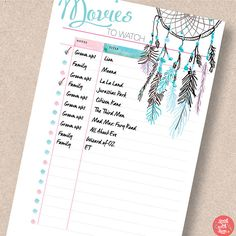 Movie insert printable. Bullet journal stencil. Movies To