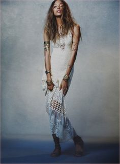 Free People's Spring Dresses - Taking on the bohemian look, and looking gorgeous in it, Jourdan Dunn looks like a pretty hippie princess in Free People's Spring Dresses. ...
