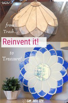 Repurpose an old tiffany lamp into this beautiful DIY Tiffany Mirror with my DIY tutorial. #stainedglass #tiffanymirror #stainedglassmirror #upcycle #repurpose #decorativemirror #girljustdiy