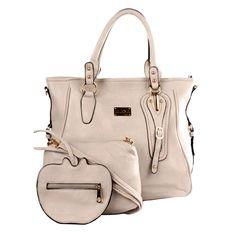 Elena E336 Shoulder Bag with Sling Bag and Wallet (Cream)