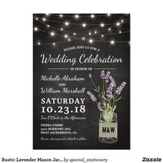 Rustic Lavender Mason Jar Lights Wedding Card Country chic wedding invitations featuring a rustic black chalkboard background, string lights, a mason jar with purple lavender flowers, wrapped in burlap with the couples initials and a wedding template that is easily personalized.