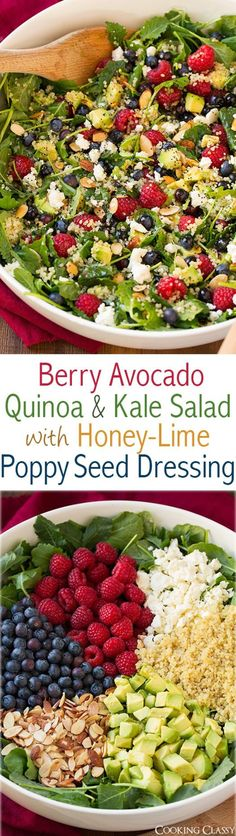 Berry Avocado Quinoa and Kale Salad with Honey-Lime Poppy Seed Dressing - a healthy superfood salad that is full of delicious flavors! the dead Berry Avocado Quinoa and Kale Salad with Honey-Lime Poppy Seed Dressing - Cooking Classy Kale Quinoa Salad, Avocado Quinoa, Superfood Salad, Kale Salads, Carrot Salad, Avocado Salad, Vegetarian Recipes, Cooking Recipes, Clean Eating