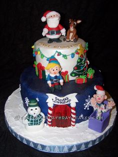 Coolest Christmas Scene Cake... This website is the Pinterest of birthday cake ideas