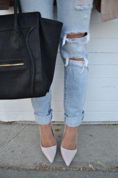 ripped jeans, nude heels, celine style bag