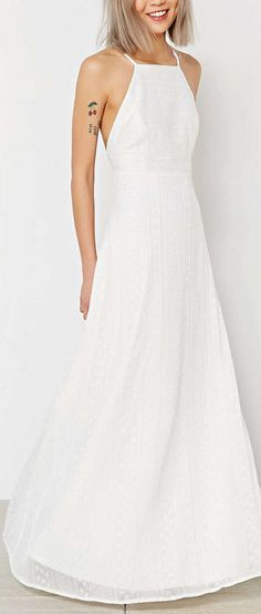apron neck embroidered maxi dress