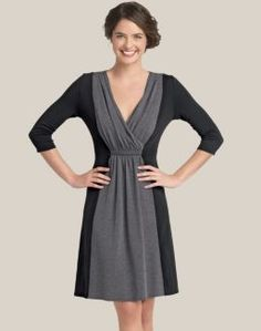 Casual cotton waist slimming color block dress by Hanes