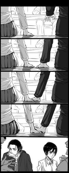 """Aaahhh so cute ❤❤❤❤❤ Artist: Attack On Titan Comic, Attack On Titan Season, Attack On Titan Ships, Attack On Titan Fanart, Anime Couples Manga, Cute Anime Couples, Anime Guys, Mikasa X Eren, Titans Anime"