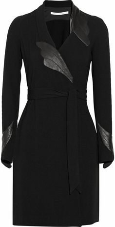 Glam Leather-detailed Crepe Wrap Dress - Lyst