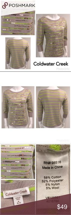 """🌸 Coldwater Creek M Gray Green Sweater 10 / 12 Coldwater Creek Beaded Striped Boatneck Gray Lime Green Sweater Medium 10 / 12   ▫️3/4 quarter sleeves   ▫️Bust 19"""" from armpit to armpit   ▫️All beads appear to be intact  ▫️Just a few look a little loose or off, but that will happen even with a new sweater straight from the store.   ▫️No stains ▫️No holes ▫️No pills  🛍For the best deal, I offer a bundle discount! Please check out my closet for other fabulous items!🛍 Coldwater Creek Sweaters…"""