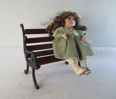 Park Bench Miniature Vintage Wood and Cast Iron by HobbitHouse