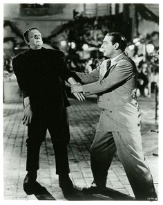 """greggorysshocktheater: """" Frankenstein Meets the Wolf Man """" Classic Monster Movies, Classic Horror Movies, Classic Monsters, Cult Movies, Scary Movies, Films, Frankenstein Film, Lon Chaney Jr, Frankenstein's Monster"""