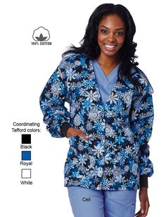 Uniform Advantage offers a vast assortment of medical scrubs and uniforms that are comparable to both Lydia's & Tafford uniforms. Dental Scrubs, Medical Scrubs, Stylish Scrubs, Uniform Advantage, Scrub Jackets, Medical Dental, Neck Warmer, Blue And White, Black