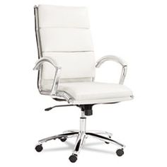 Neratoli Series High-Back Swivel/Tilt Chair, White Faux Leather, Chrome ALENR4106
