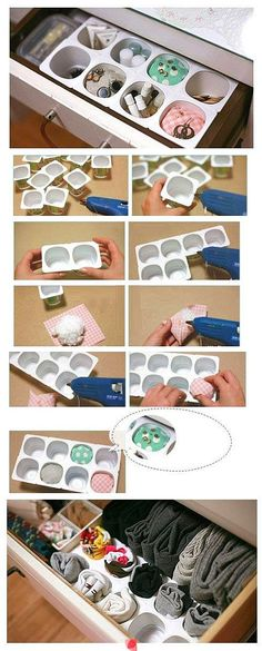 Who knew yogurt cups could be so useful? - DIY storage shelf made of yogurt cups glued together Diy Rangement, Yogurt Cups, Diy Storage, Bathroom Storage, Storage Ideas, Drawer Storage, Storage Hacks, Storage Bins, Home Hacks