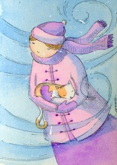 Kitty rescue, painting by artist Nicole Wong reminds me of my Sis