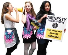 Our adorable NYC interns standing up for women's rights!  - $28.00    http://shop.amnestyusa.org/Defend-Rights-Butterfly-Shepard-Fairey/dp/B008UT6FES