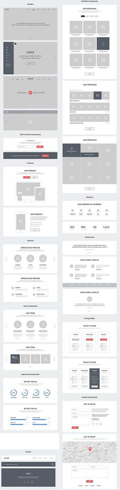 PSD Web Design - One Page Website Wireframes. Web Design. Opus Online.