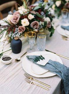 Linen napkins - Set of 6 napkins - Tablecloth napkins - kitchen napkins - Denim Linen napkins 18''x Hawaii Wedding, Blue Wedding, Fall Wedding, Wedding Colors, California Wedding, Wedding Flowers, Wedding Reception Tables, Wedding Table Settings, Place Settings