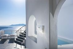 """Imposing doorways, ample interiors and shady private terraces from where the magical and so famous sunsets can be enjoyed...all at your disposal at the """"Asteras Villas"""" of #Santorini!"""