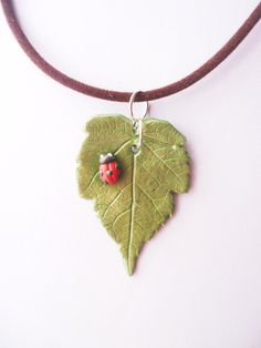 Green Realistic Leaf and Lady Bug Polymer Clay Necklace