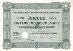 Aktienbrauerei Kaufbeuren / Aktie 1 000 RM, Kaufbeuren, Mai 1938