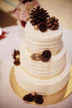 Wedding cake with pine cones www.MadamPaloozaEmporium.com www.facebook.com/MadamPalooza