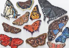 Choose from the three butterfly species listed below to order one hand embroidered butterfly of your choice.